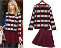 Free Shipping 2015 women long-sleeve grid knitting Sweater + Woolen skirt  Spring dress two-piece set