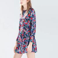 2015 Top Design Fashion Women Dress Flower Printed Dress Long Sleeve Round Neck Party Dress Women Boutique  EB65