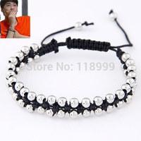 Silver Beads Bracelets Braided Beads Bracelets Mens Shamballa Bracelet For Man Wholesale Free Shipping