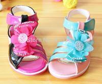 2015 flowers antiskid Velcro princess baby girls sandals child free mail
