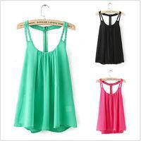 Free Shipping 2015 Women Blouse Spring Summer Tops Chiffon Blouse Sleeveless Rivet Spaghetti Strap Casual Shirts