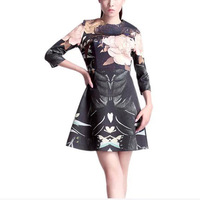 2015 Superior Quality Women Boutique Ball Gown Big Flower Printed Party Dress Half Sleeve Round Neck Dress EB66
