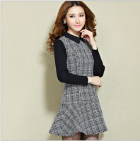 New women's autumn and winter Slim thin long-sleeved big yards hit the color rendering woolen dress