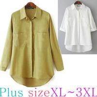 XL-XXXL PLUS SIZE High Quality European Basic Style Linnen Blouse/Cardigan/Tops