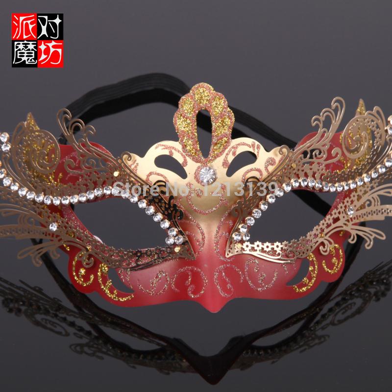2015 hot sale Face Mask-Magic Square Halloween masquerade party wedding Venice half face mask metal diamond princess fun(China (Mainland))