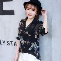 Spring 2015 long-sleeve chiffon floral print shirt female fashion stand collar shirt basic slim print shir blusas femininas 2015