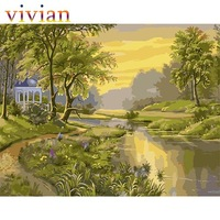 MS8487 spring Pavilion paint by number kits unique gift home decor vi291 DIY digital oil painting Frameless picture