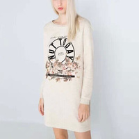 2015 Ladies Fashion Warm Thick Dress Flower Letter Printed Dress Long Sleeve Round Neck Dress Casual Wear  GA8045