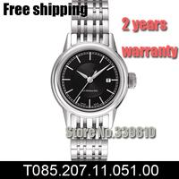 T085.207.11.051.00 women fashion Casual watch luxury brand Sports Watches black dial steel belt Automatic Self-Wind watch