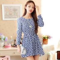 2015 New summer women Sweet dress autumn cute floral casual dress Sexy Long sleeve dress refreshing comfortable dress