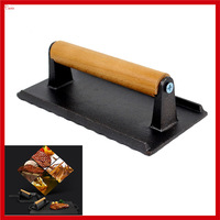 New Cast Iron BBQ Barbecue Beef Pork Meat Press Plate Food Grade Barbecue tMeat Fried Press Plate