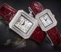 New arrival fashion &  diamond watches quartz  women wristwatches luxury Sapphire gold ladies watch leather strap rectangle case