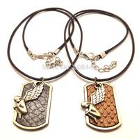 Couple's Pair Angel Figure Pendant Necklace Religous Jewelry Bijouterie For Men Women Lovers Valentine's Day Gift