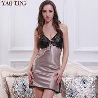 Sexy sleepwear women's faux silk nightdress new style pyjamas