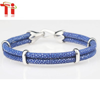 TI 2015 Exclusive new design gift handmade leather bracelet blue genuine stingray leather top sell bracelet