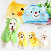 HOT Soft 100% Cotton Pet Dog Cartoon Bathrobes Animal Bath Towel Puppy Cats Blanket Pajamas,toalhas para pet,5Colors,Size S/M/L