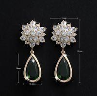 ZSE053  Wholesale 2015 New AAA Green Cubic Zirconia Long Wedding Stud Earrings For Women Bincos Fashion Jewelry bijoux POXE
