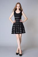 Sexy Silk & cotton Dress Fashion Style Ladies Sleeveless Hollow Out Mini Dress Women Spring & Summer Dress