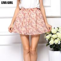 European and American 2015 Fashion women floral chiffon skirts short Mini pleated skirt DQ141