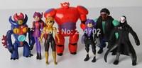 2015 New Animation Cartoon Big Hero 6 /Baymax/Go Go/Wasabi No Ginger 6 - 10cm PVC Figure Toy Set .Free Shipping
