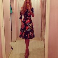 2015 winter and fall new fashion women print elegant dress o-neck half sleeve dress