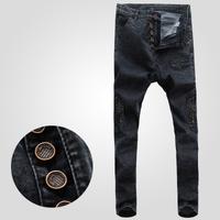 Free shipping! 2015 new men sagging fashion Slim micro-bomb multi-pocket jeans