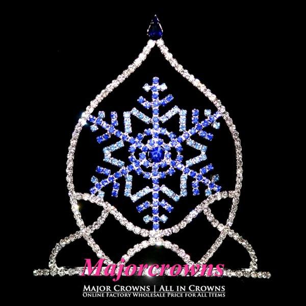 2015 King Blue Snowflake Crown Cheap New Hot Christmas Princess Pageant Tiara AL061 Blue(China (Mainland))