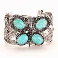 2015 Fashion Vintage butterfly turquoise bangle weave twist tibetan silver chain bracelet/ turquoise bangle for woman HCC-B023