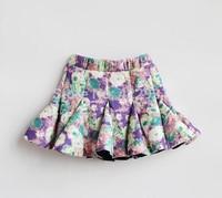 Retail children skirt for girls Baby floral skirt 2015 girls skirts 2-8ages skirt fantasia free shipping faldas baby tutu skirt