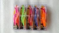 7pcs e- Fishing Lures Baits Squid Egi Shrimp jigs Hooks.13.5cm   22g, shinning  when  put in water ,