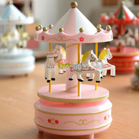 2014 free shipping 48/lot zakka carousel music box kids gifts Wood crafts