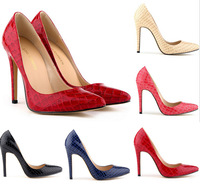 The European and American stars classic shallow mouth with red bottom shoes The crocodile grain single shoes