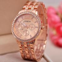 Free shipping I PC High Luxury Fashion Brand Alloy Rose Gold Full Steel Geneva Watch Rubberized Women  Quartz Watches Men