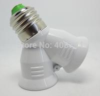 E27 to 2pcs E27 Lamp holder Converter, LED Light  Adapter Screw Socket,Free Shipping,20pcs/lot