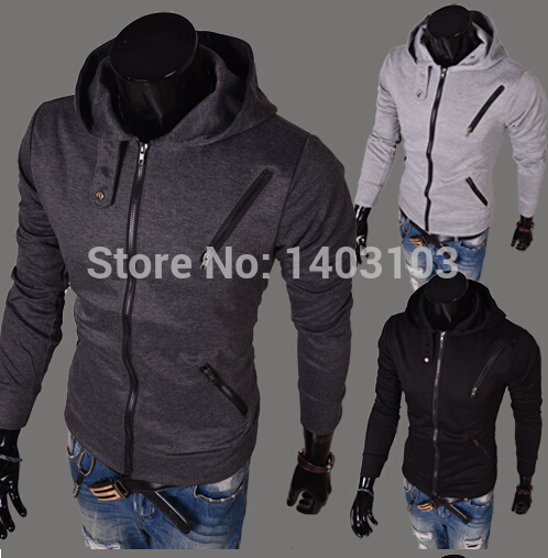 New fashion Cotton blended casual sports Coats Jackets Hoodies unique More zip design Sweatshirts(China (Mainland))