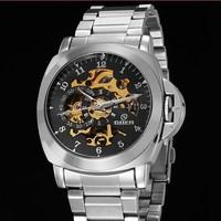 2014 New Men Steampunk Army Watch Stainless Steel Mens Sport Wristwatches Clock Design
