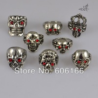 18pcs/lot Mix Style Skull with Red Eyes Rings Punk Gothic Biker Bright Silver Tone Metal Alloy Ring Fashion Jewelry