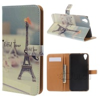 Colorful Pattern Police Public Call Box Wallet Flip Leather Cover for HTC Desire 820 / Dual Sim 1PCS Free Shipping