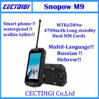 New walkie talkie phone snopow m9 smartphone ip68 PTT phone mtk6589w waterproof phone rugged phone