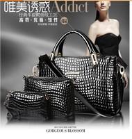 Hot!!! Crocodile Leather Women Handbag Classic Shoulder Bags Lady's Vintage Messenger Bags Clutch Wallet 3Pcs/Lot