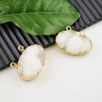 8pcs Natural Druzy Quartz Crystal Drusy Stone Side Ways Pendant Bead Jewelry Finding