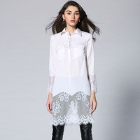 Amazing!High Quality New Fashion 2015 Spring Summer Long Blouses Women Turn-Down Collar Lace Emroidery Silk Patchwork Long Shirt