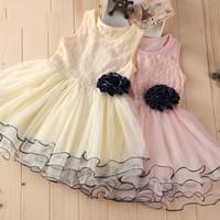 EMS DHL Free shipping Toddler Girls Kids Korea Style Elegant Little Girls Princess Holiday Flower Tulle Summer Sleelveless Dress