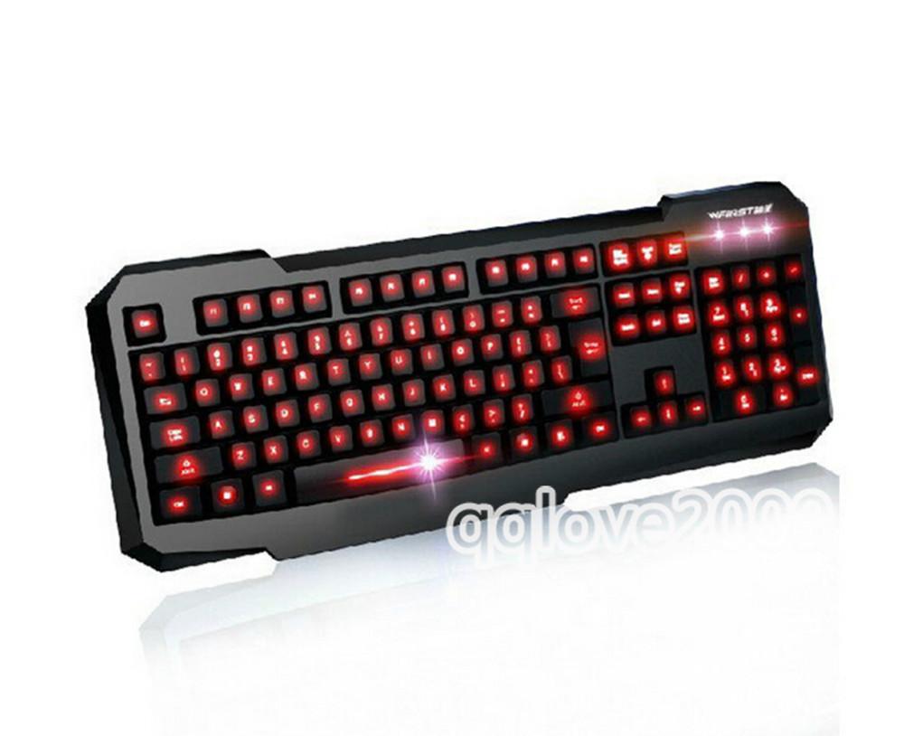 Red LED Bright Backlit Illuminated Back Light USB Wired Gaming Computer PC Keyboard RT(China (Mainland))