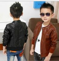 Hot Sale 2015 New Fashion Winter Velvet Thicken Boys O-neck PU Jacket Children Outerwear Coats