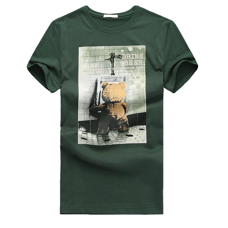 2015 Rushed New Arrival Fashion Fitness Tshirt Emanuel Free Shipping Rabbit T-shirt Male Short-sleeve T 100% Basic Cotton Shirt(China (Mainland))