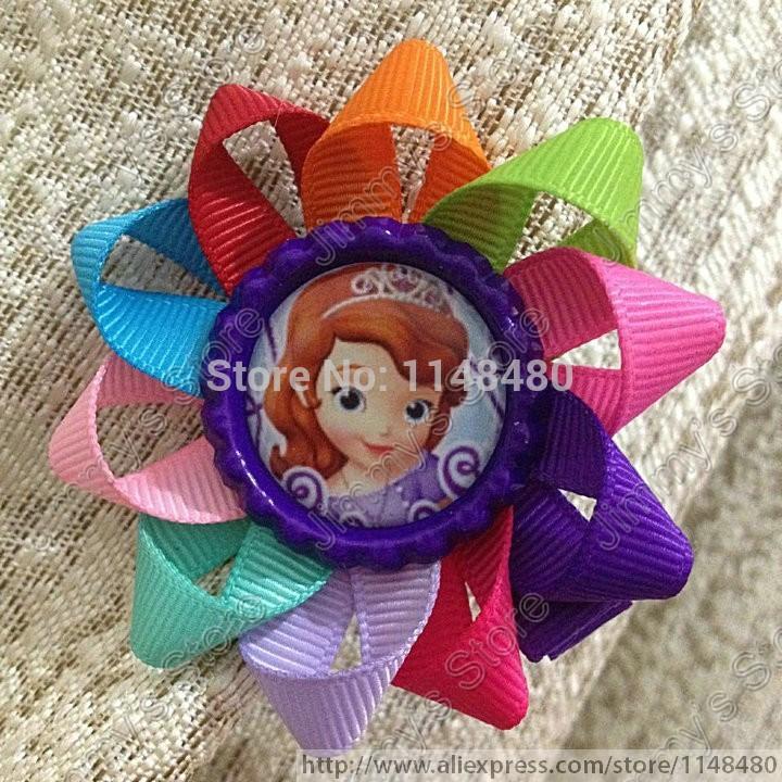 2015 New 2.6'' Princess Sophia Bottle Cap Loopy Hair Bow Ribbon grosgrain baby clip Children hair accessory(China (Mainland))