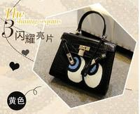 fashion women leather handbags sparkle casual shoulder bag vintage Women messenger bags big eyes handbag 2015 LADY STYLE