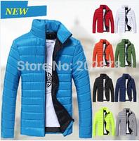 9 Colors 2015 Men's Parkas Jacket Winter Cotton Coats Mens Wadded Jacket Man Jackets Warm Coat Hollistic Shiny Down Padded