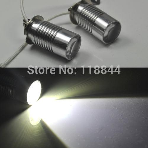 2Pcs Socket Xenon White H3 LED Cree projector 5w 6000k Bulb High Power Fog DRL Light or Driving Lamp DC12V(China (Mainland))